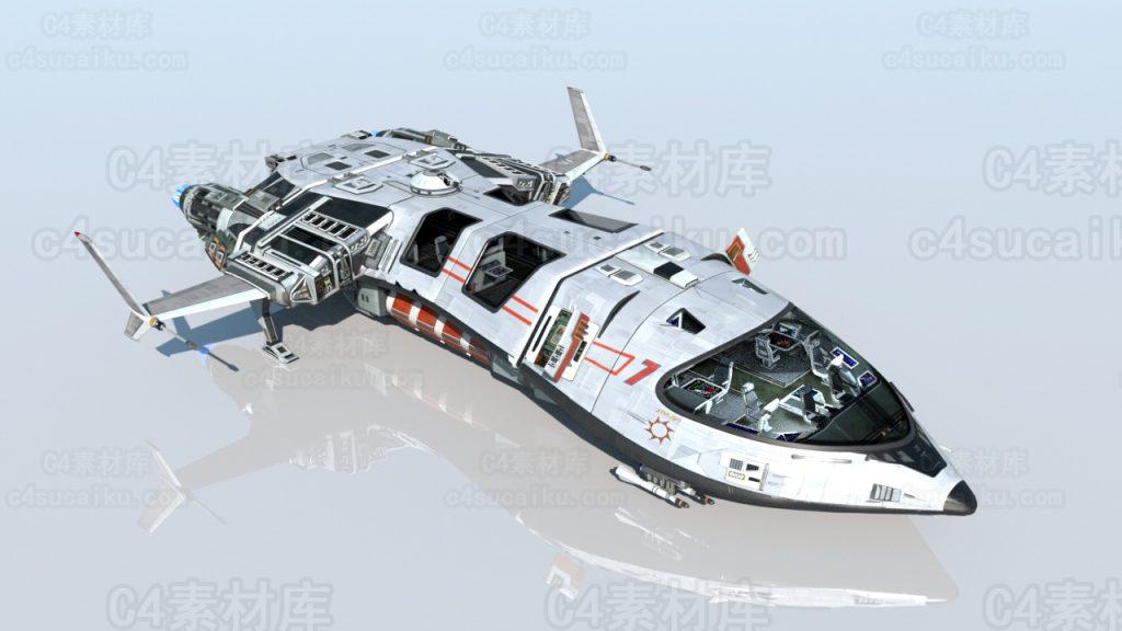 Octane渲染器飞机战斗机宇宙飞船科幻航天器模型1