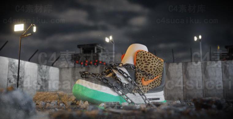 Octane渲染器科幻鞋子室外场景工程