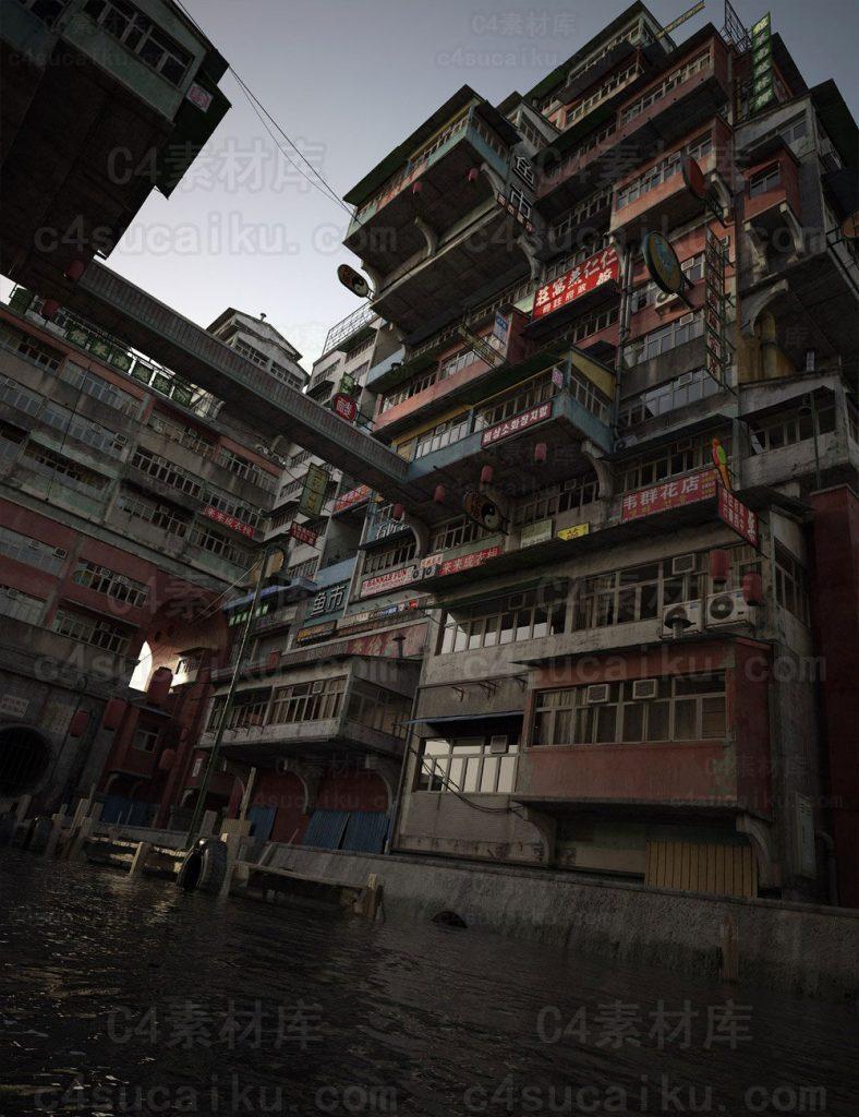 默认渲染器唐人街中国风房子建筑群