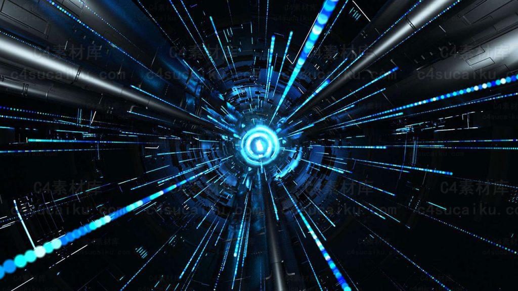 Octane渲染器科幻置换隧道线条穿梭工程