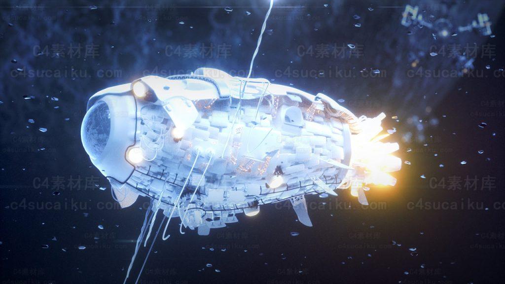 Octane渲染器飞机太空船宇宙飞船科幻航天器工程