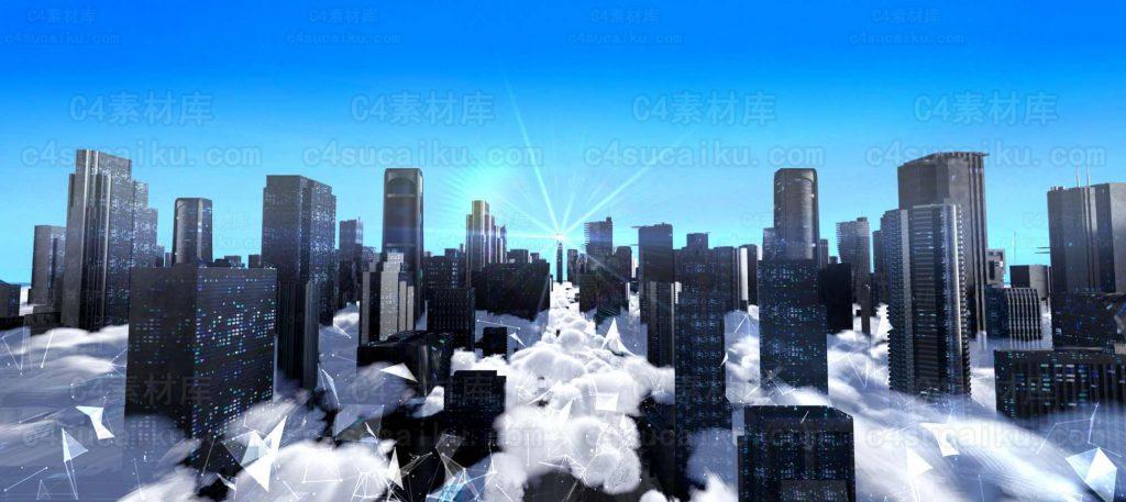 Octane渲染器  科幻云端科技城市