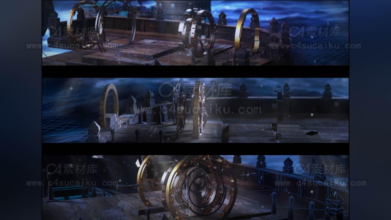 复古航海船只演绎动画场景