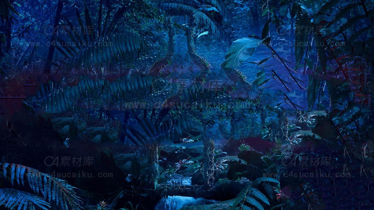黑夜森林白模动画场景工程文件