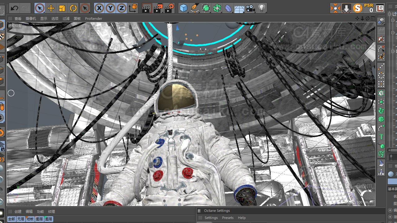 科幻太空实验室宇航员白模场景
