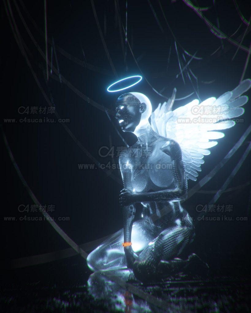 Octane渲染器科幻女神天使工程原文件