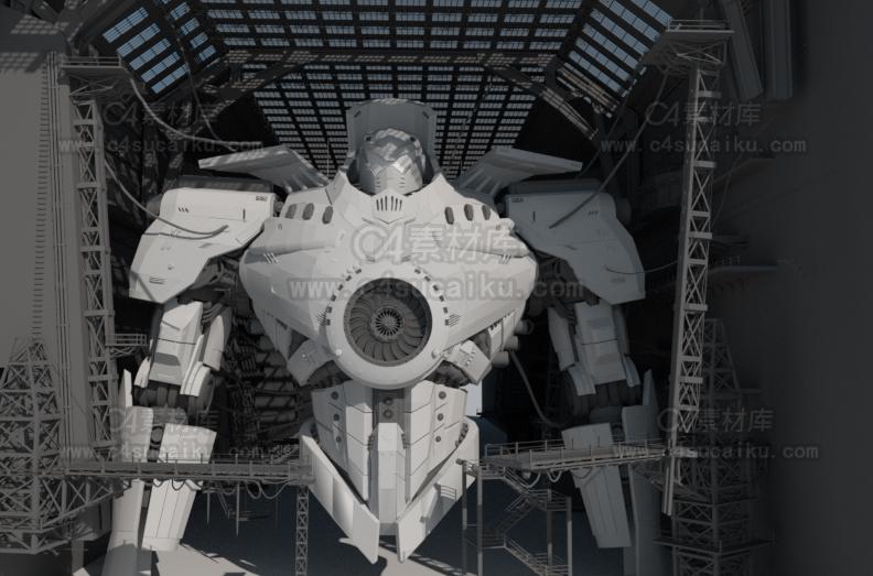 危险流浪者科幻机械机甲机器人场景模型