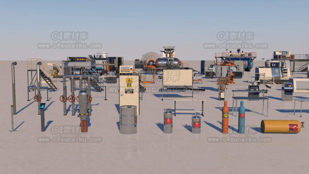 科幻模型秘密实验室器械工具3D模型包