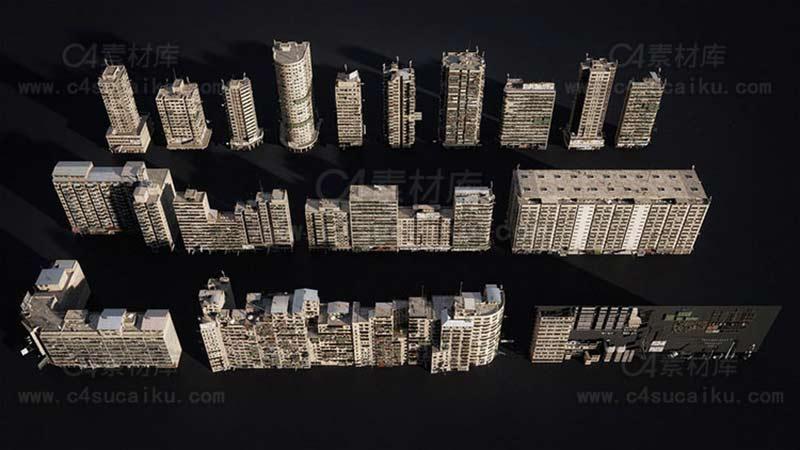 反乌托邦城市贫民窟无人区建筑3D模型