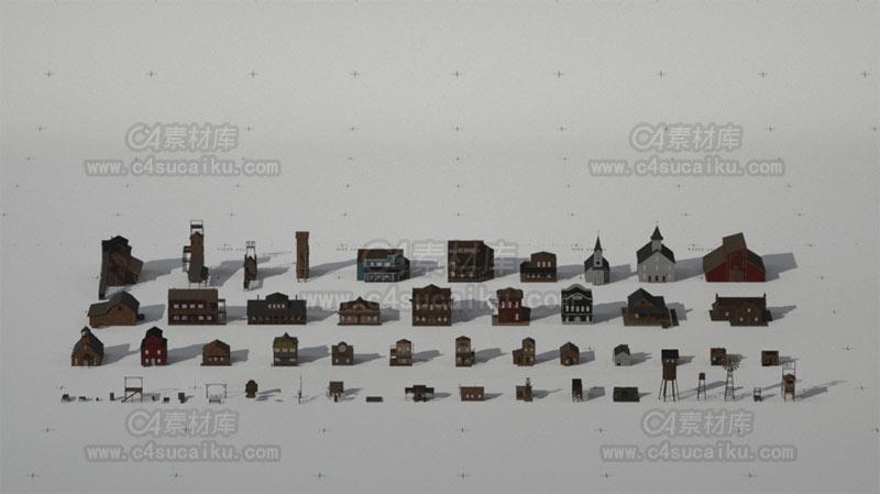蛮荒的C4D美国西部风格乡村木屋模型