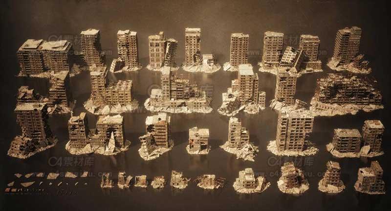 末日毁灭战后废墟城市场景3D模型