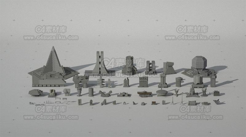 现代科幻城市建筑场景3D模型