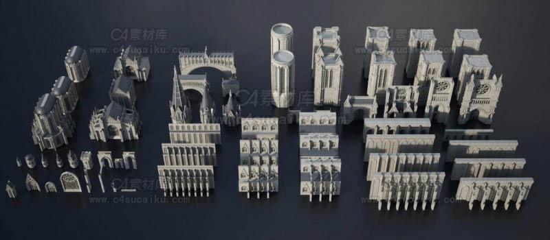 暗黑史诗般哥特式城堡建筑3D模型