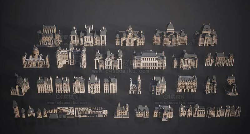 巴黎建筑楼房欧式建筑城堡3D模型