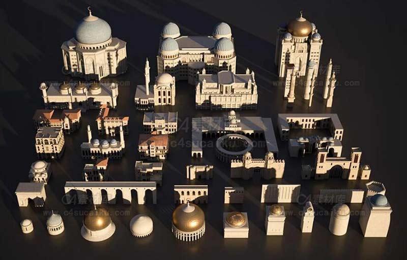 中东地区楼房建筑场景3D模型