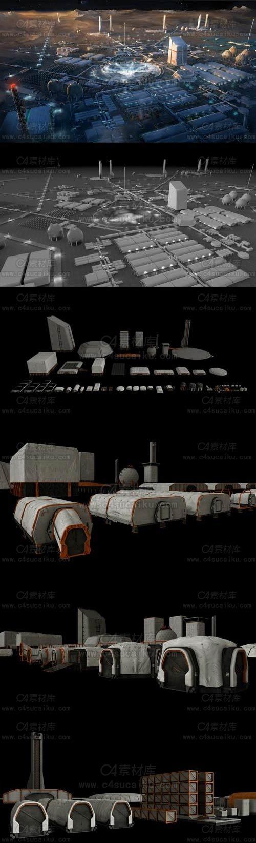 宇宙星球殖民地场景3D模型