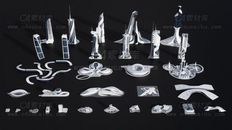 未来概念创新科技城市建筑场景3D模型