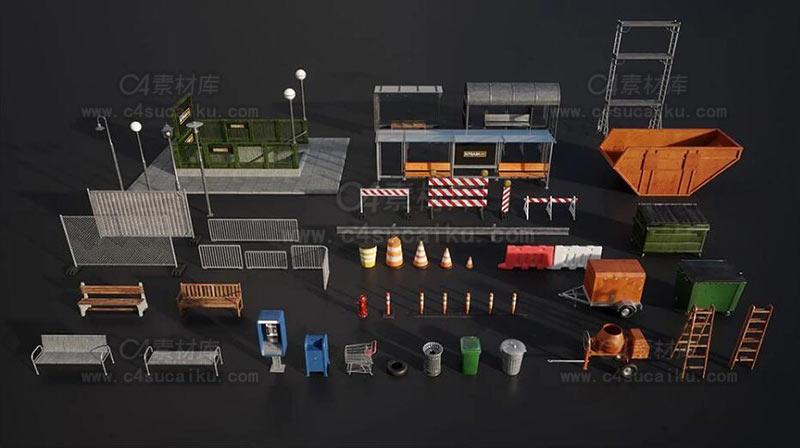 城市交通道路警示路灯等3D模型
