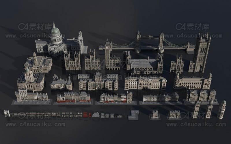 维多利亚时代中世纪欧美建筑景观3D模型合集
