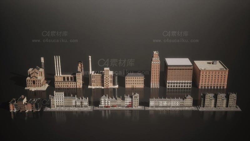 C4素材库-世纪美国工业时代城镇建筑楼房3D模型