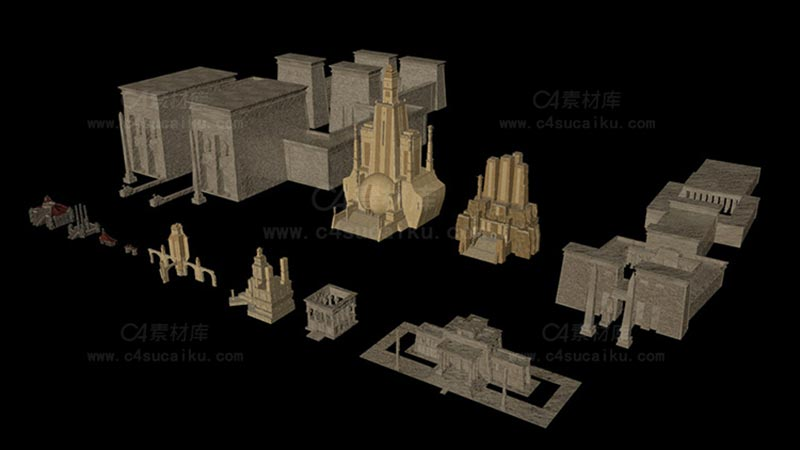 C4素材库-古老奇幻建筑3D模型