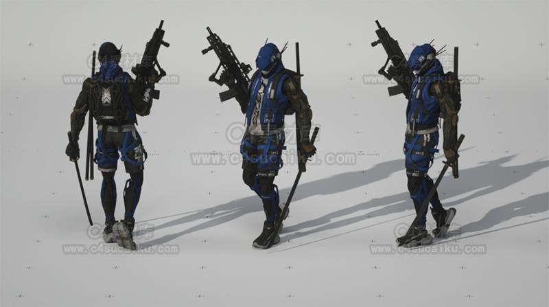 C4素材库-未来科幻武士拿枪模型