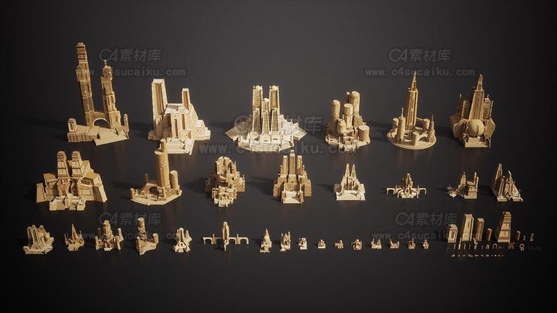 C4素材库-古代神殿建筑3D模型