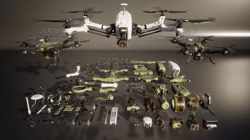 C4素材库-无人机 3d模型-2