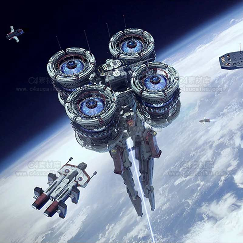 C4素材库-宇宙飞船3d模型