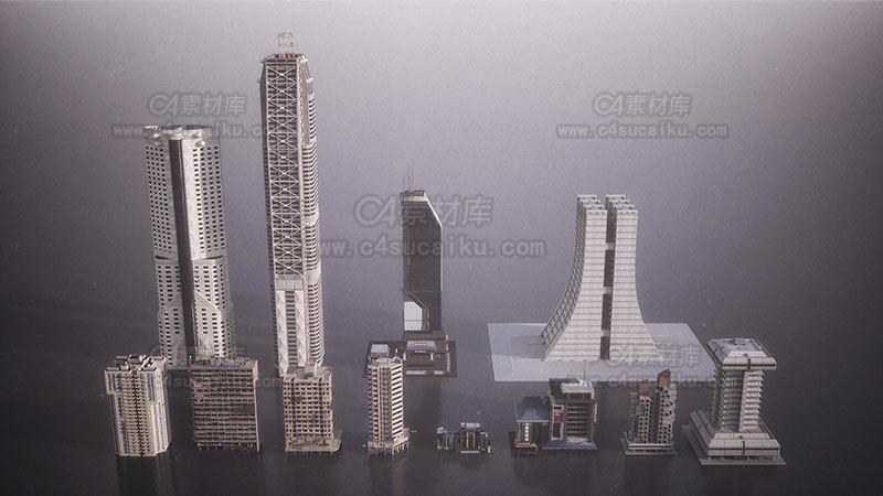 C4素材库-赛博朋克建筑大楼模型