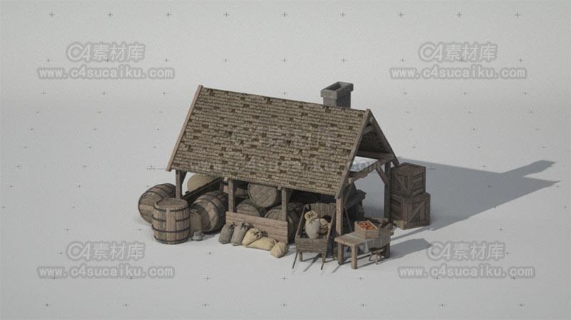 C4素材库-欧洲中世纪街道场景-3