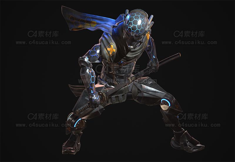 C4素材库-科幻武士人物模型