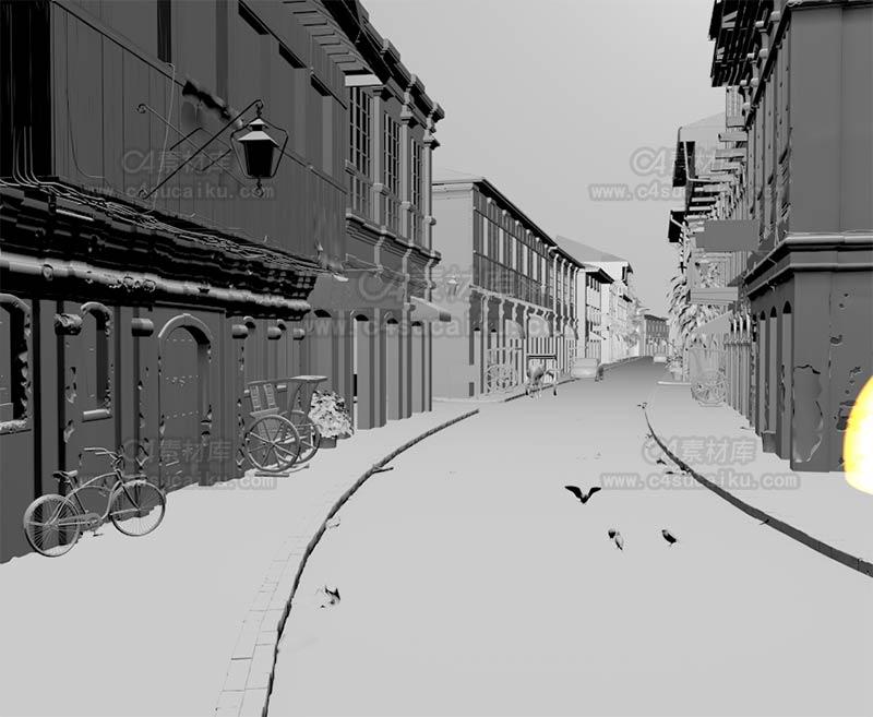 C4素材库-欧式街道白膜场景【提供贴图】