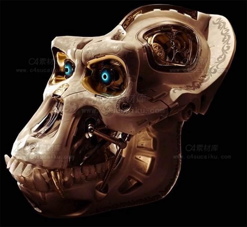 C4素材库-猴子头部机械模型