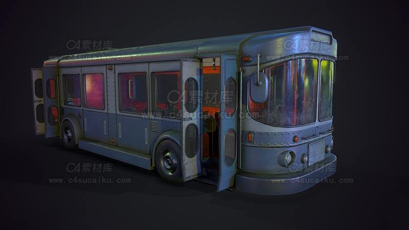 C4素材库-大巴车模型
