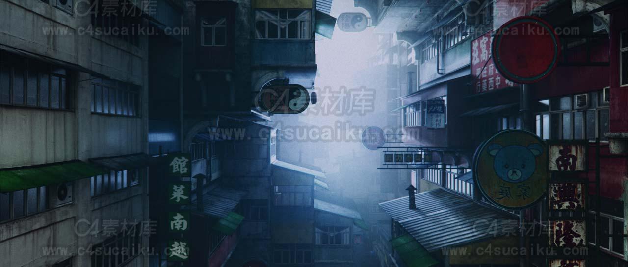 【二更小分队】octane 精品写实唐人街工程