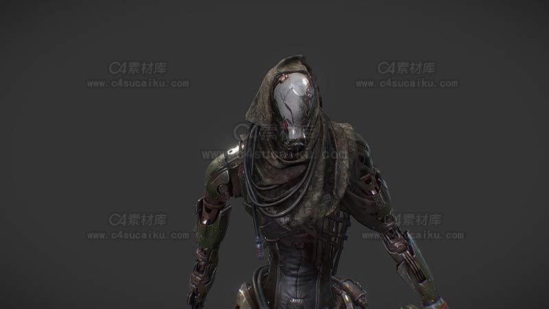 C4素材库-科幻人物拿枪模型