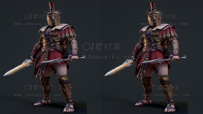 C4素材库-罗马战士C4D模型