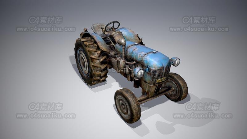 C4素材库-拖拉机C4D模型