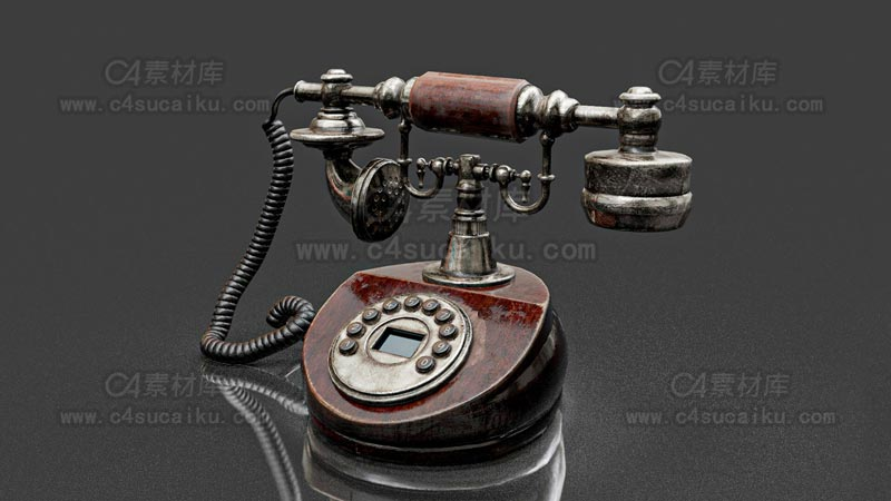C4素材库-老式电话C4D模型-2