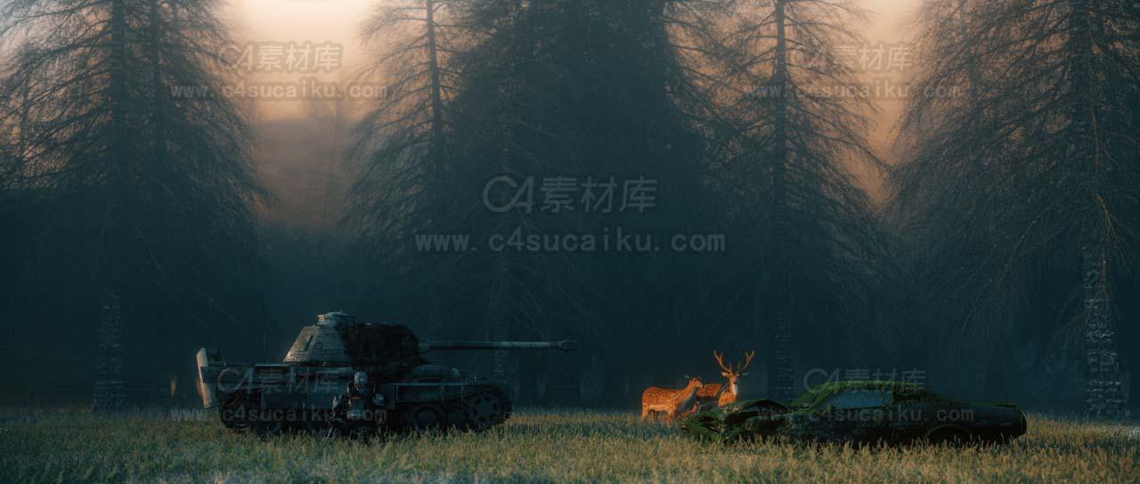 二更小分队-坦克废墟场景C4D工程byNarang