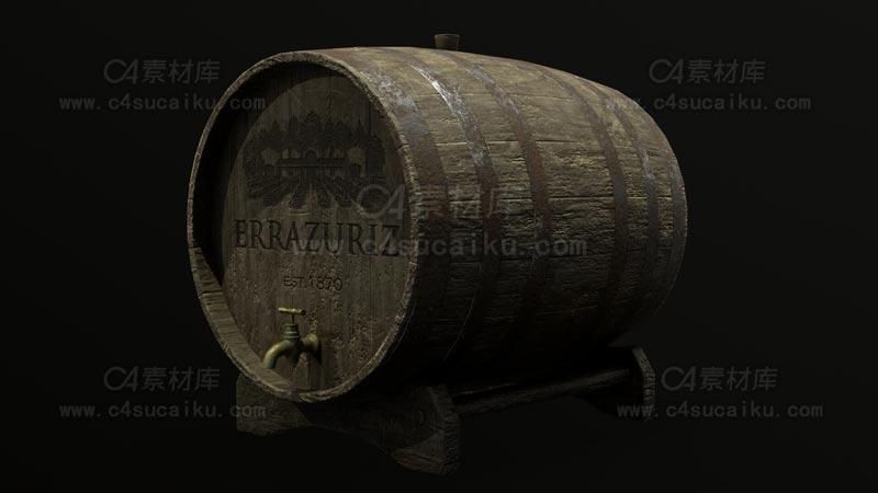 C4素材库-木桶酒桶C4D模型