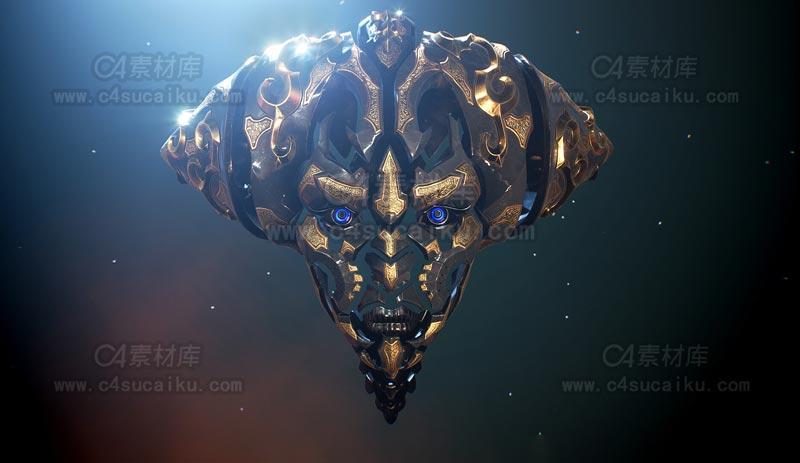C4素材库-巫师人脸C4D模型