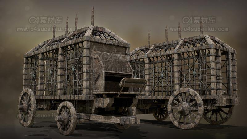 C4素材库-中世纪货车木箱模型2C4D模型