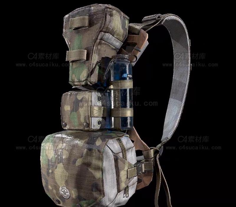 C4素材库-模块式军用背包C4D模型