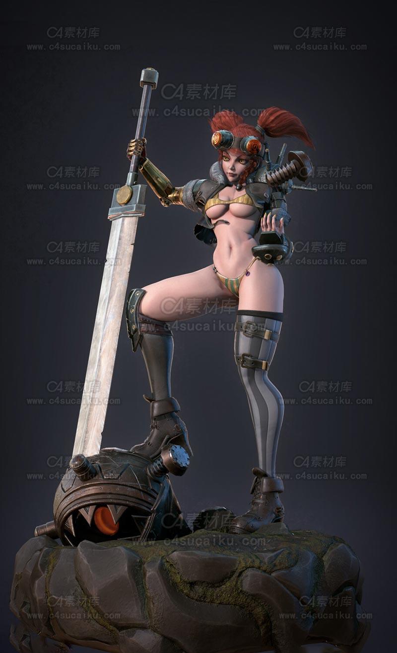 C4素材库-比基尼女性游戏人物C4D模型