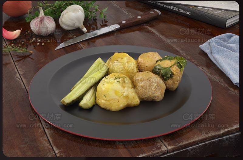 C4素材库-食物C4D模型02