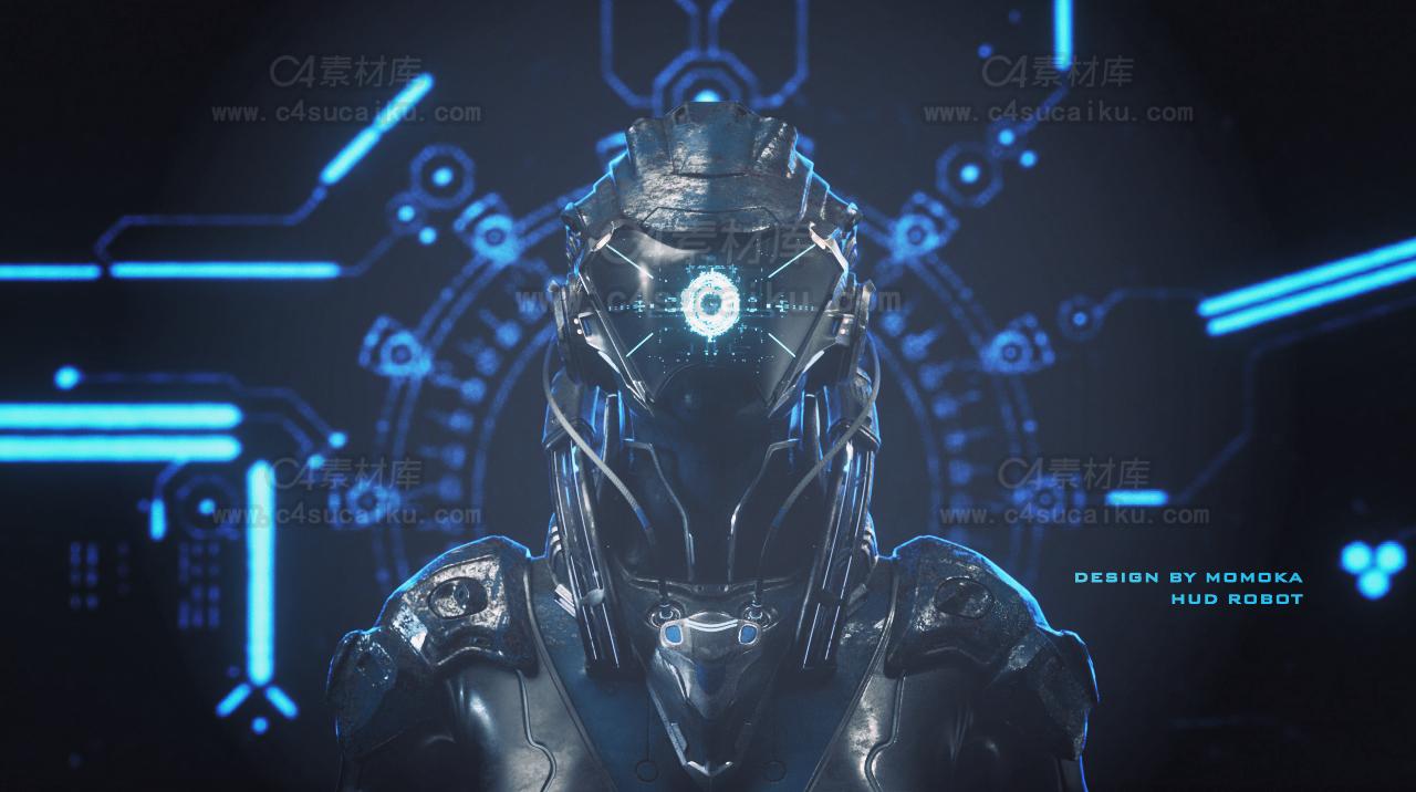 二更小分队-科幻机器人风格人物C4D工程by莫莫咖