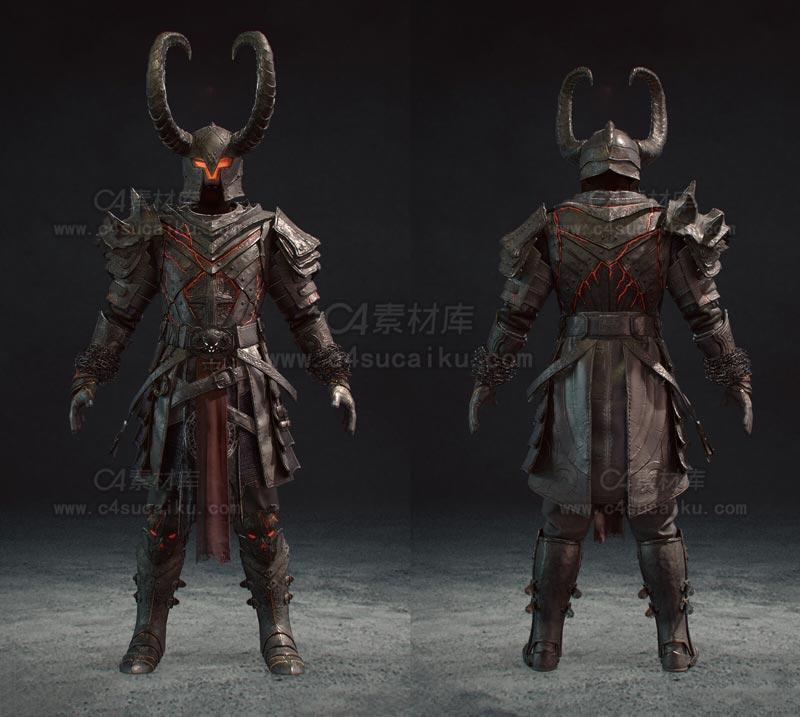 C4素材库-牛角恶魔人物C4D模型
