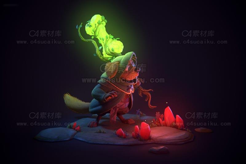 C4素材库-魔幻狗狗C4D模型